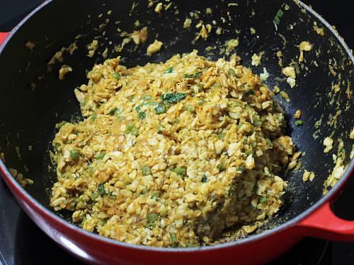 adding soya granules to pan