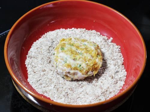 patties in bread crumbs