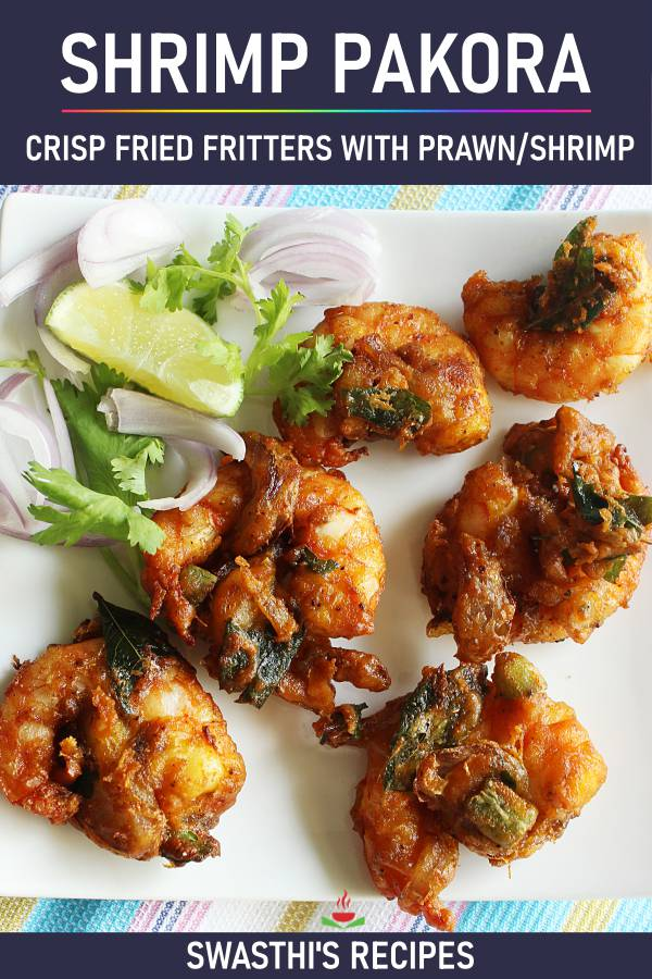 Shrimp pakora (shrimp fritters) Indian prawn pakora