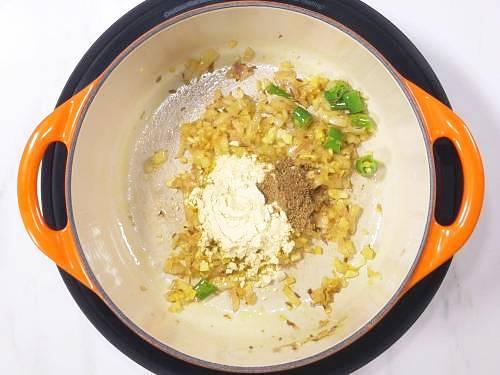 adding gram flour and garam masala