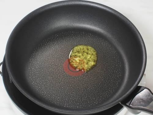 heating ghee in a pan