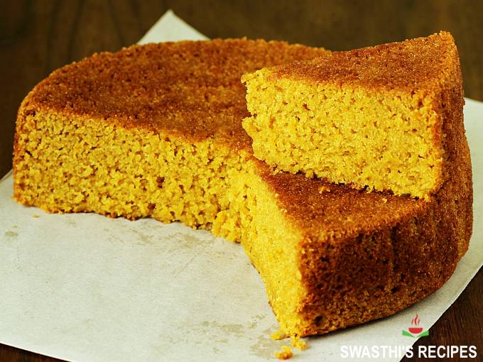 sliced eggless orange cake