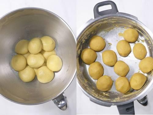 dividing dough and puran for poli
