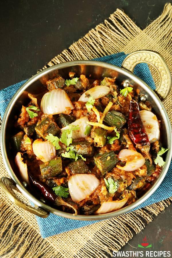 indian okra in a kadai