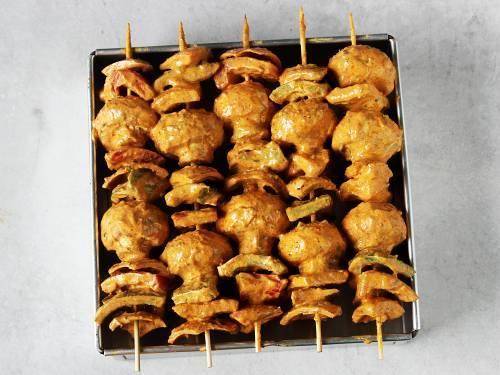 tandoori mushroom tikka ready to go in air fryer