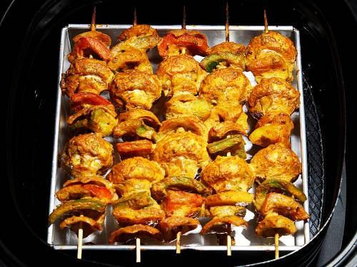 grilling mushroom tikka skewers in air fryer