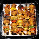 air fryer mushroom tikka skewers