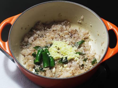 ginger garlic chilli added to pan