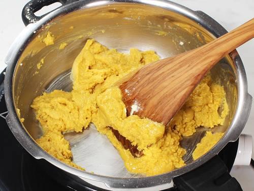 frying besan to make burfi