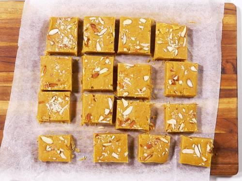 sliced besan burfi ready to serve for diwali