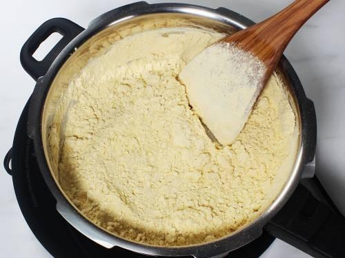 roasting besan on a medium heat
