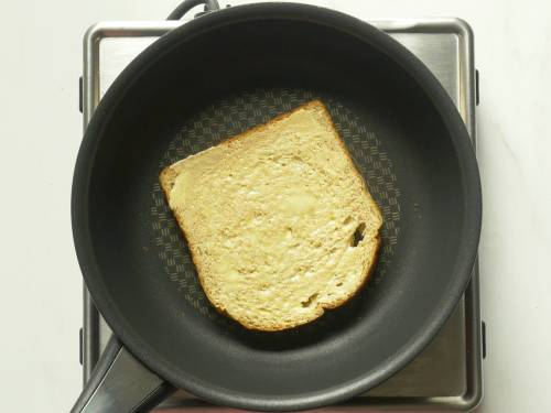 toasting bread to make croutons