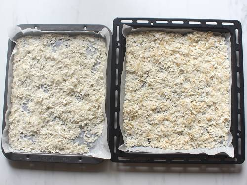 oven roasted flattened rice in tray