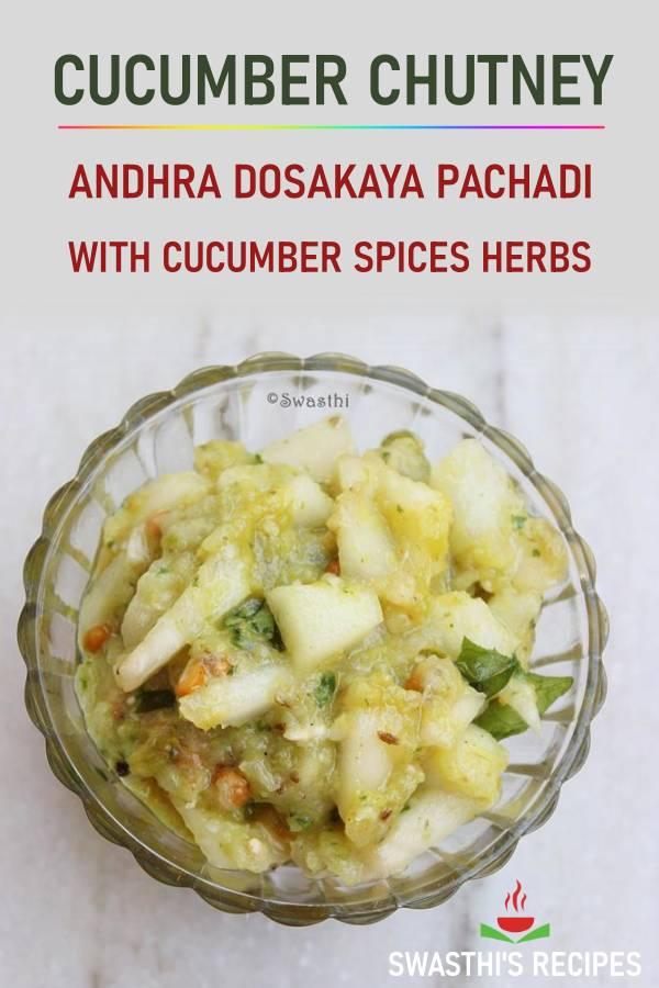 Dosakaya pachadi (Cucumber chutney)