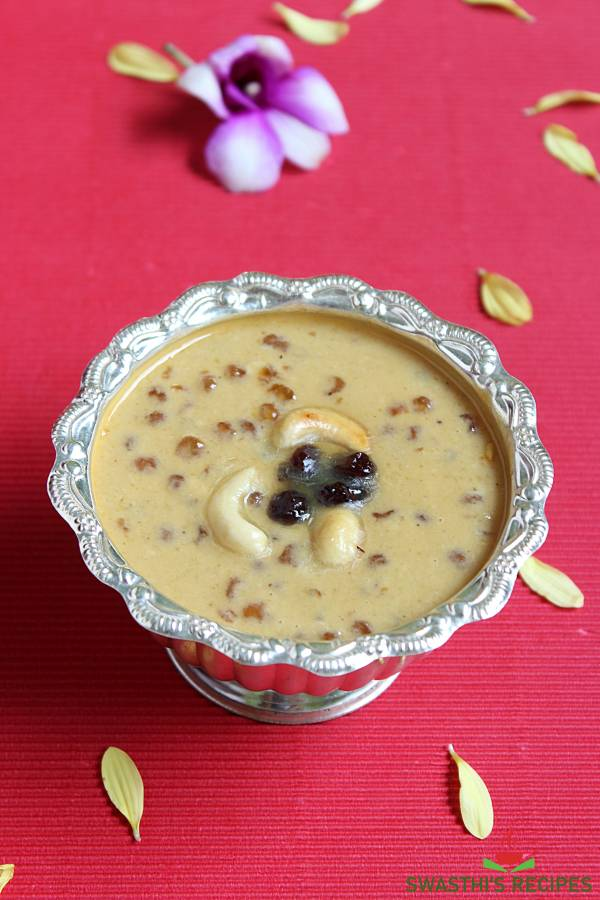 javvarisi payasam in a silver bowl offered during pooja