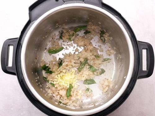 sautéed onion, ginger garlic in IP to make potato curry
