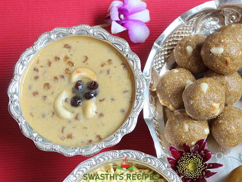 sago payasam with ladoos on the side