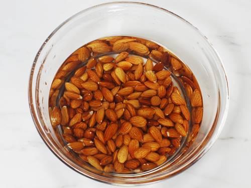 soaking almonds in water