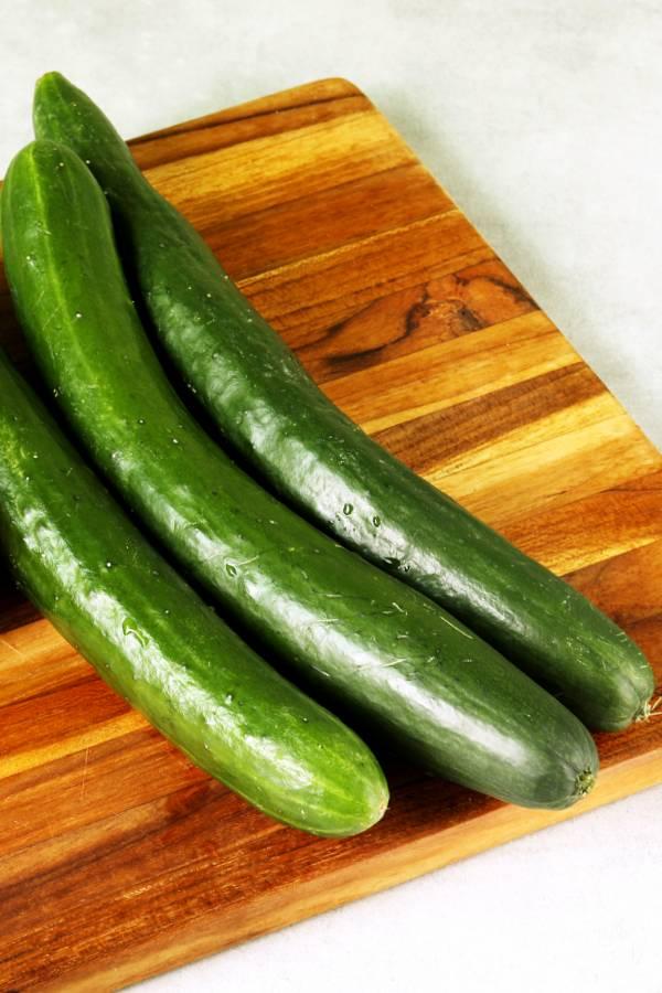 choosing cucumbers for raita