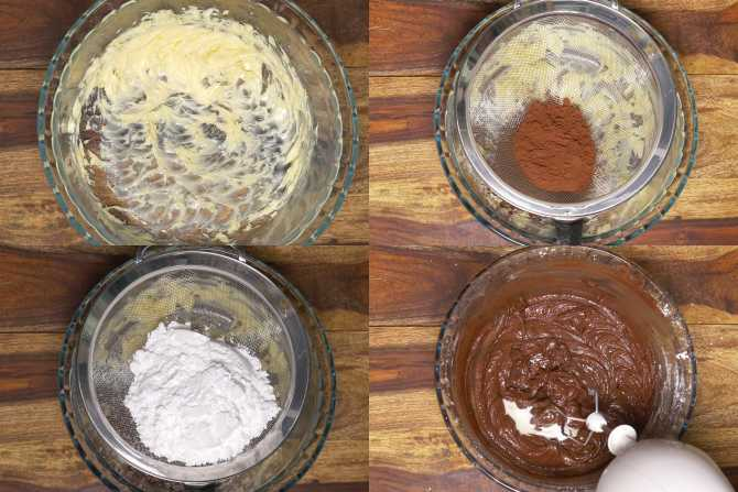 making chocolate frosting collage
