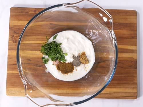 yogurt spices and herbs in a bowl