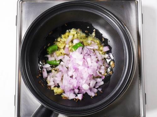 add chopped onions for dal tadka