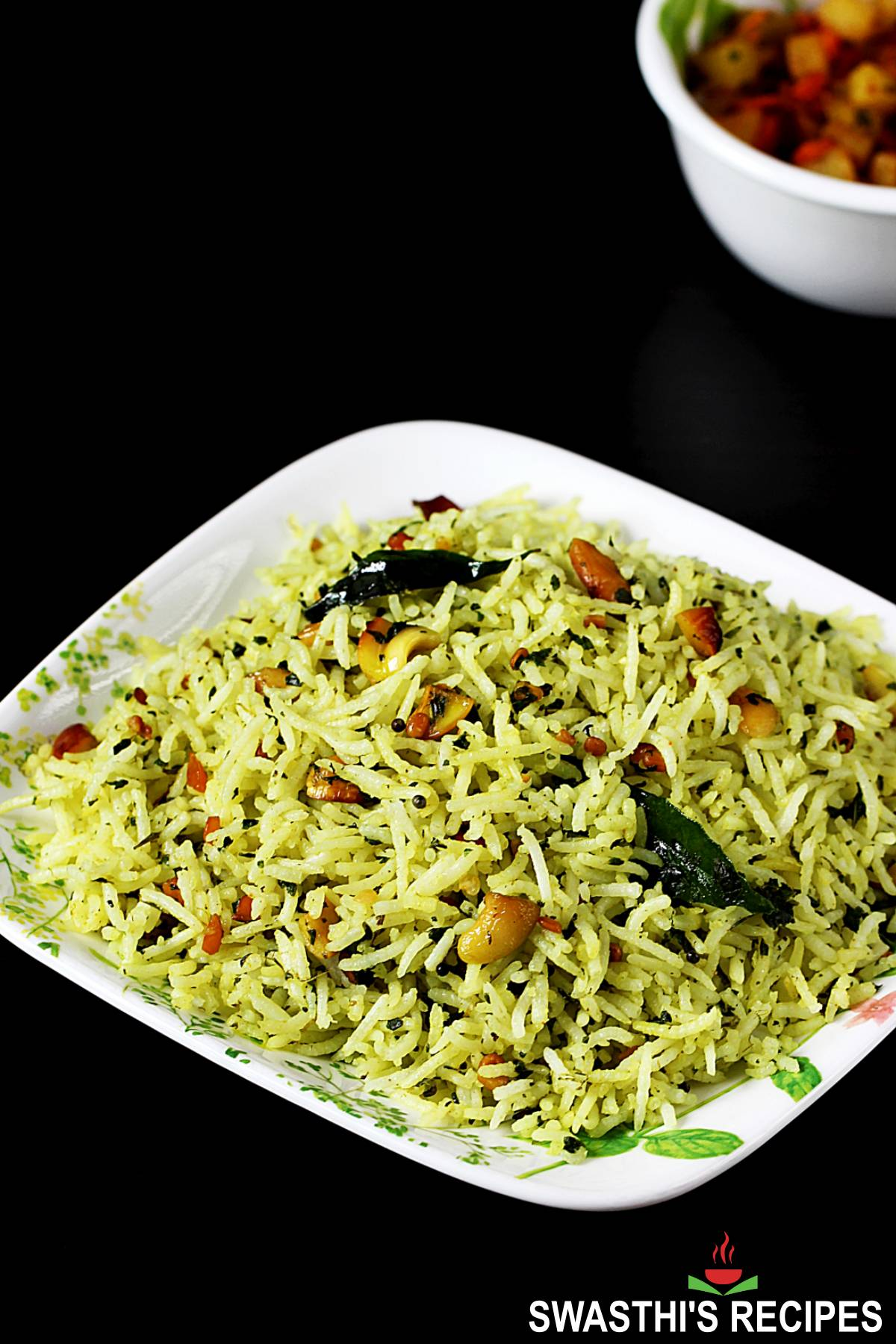 pudina rice in a serving plate