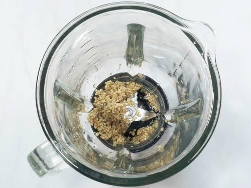 soaked sesame seeds in a blender