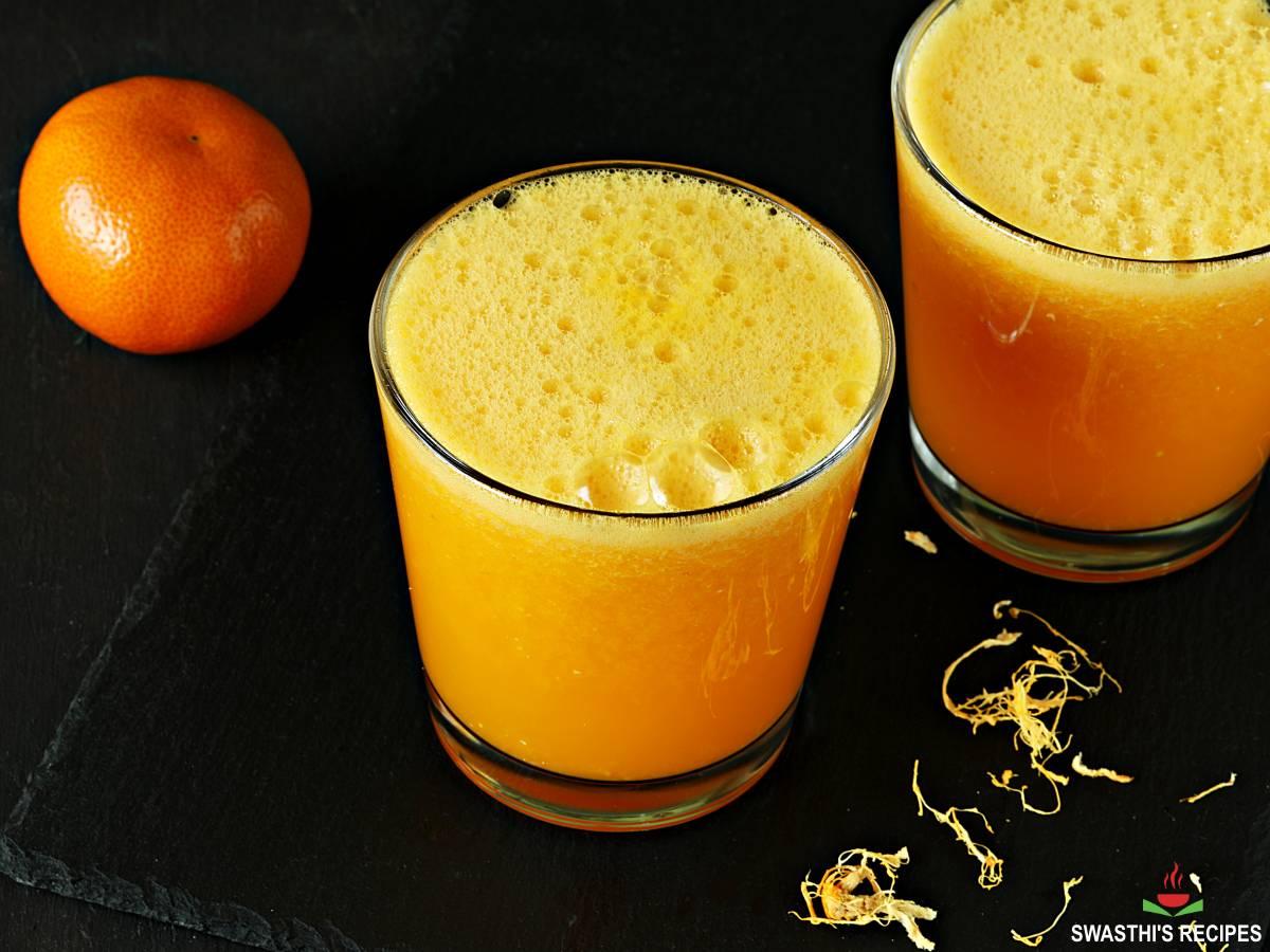 orange juice in a blender
