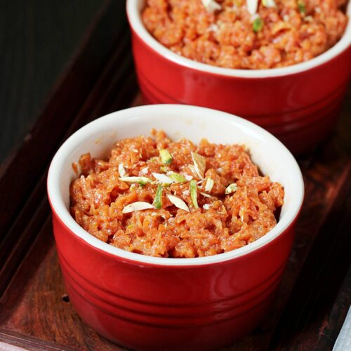 carrot halwa also known as gajar halwa served in a bowl