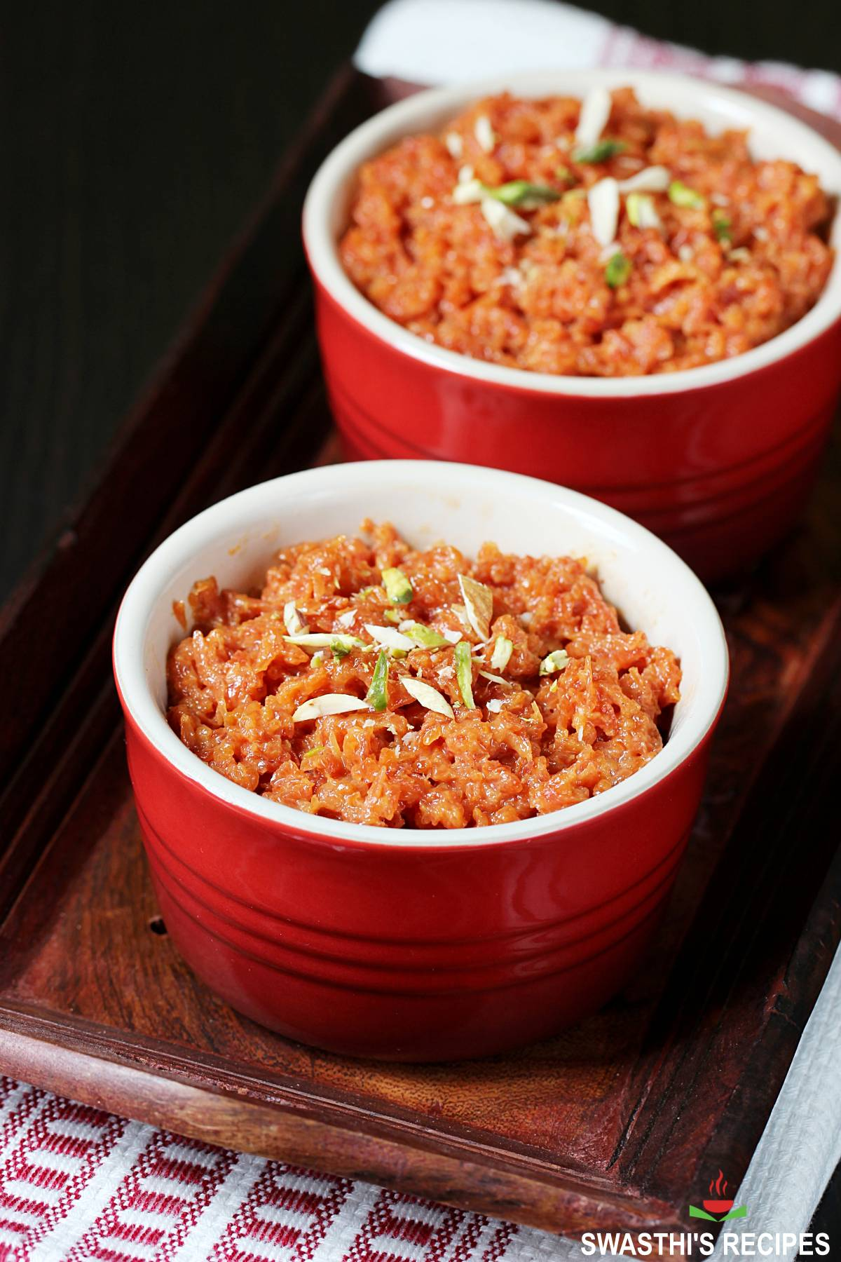 carrot halwa also known as gajar halwa served in a bowl with nuts
