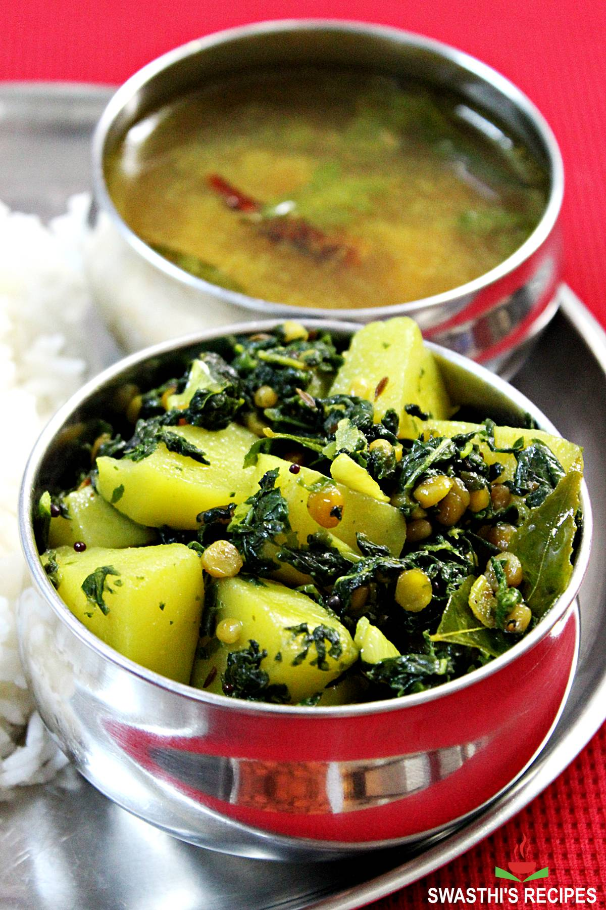 drumstick leaves stir fry made with moringa leaves