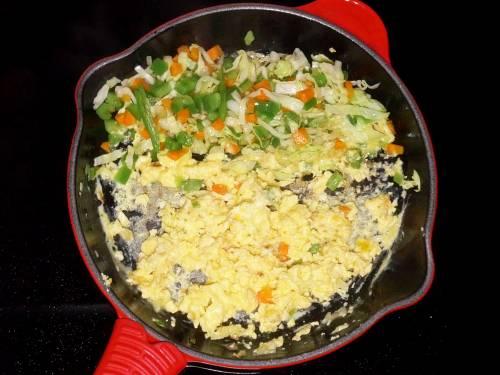 scramble eggs in a pan