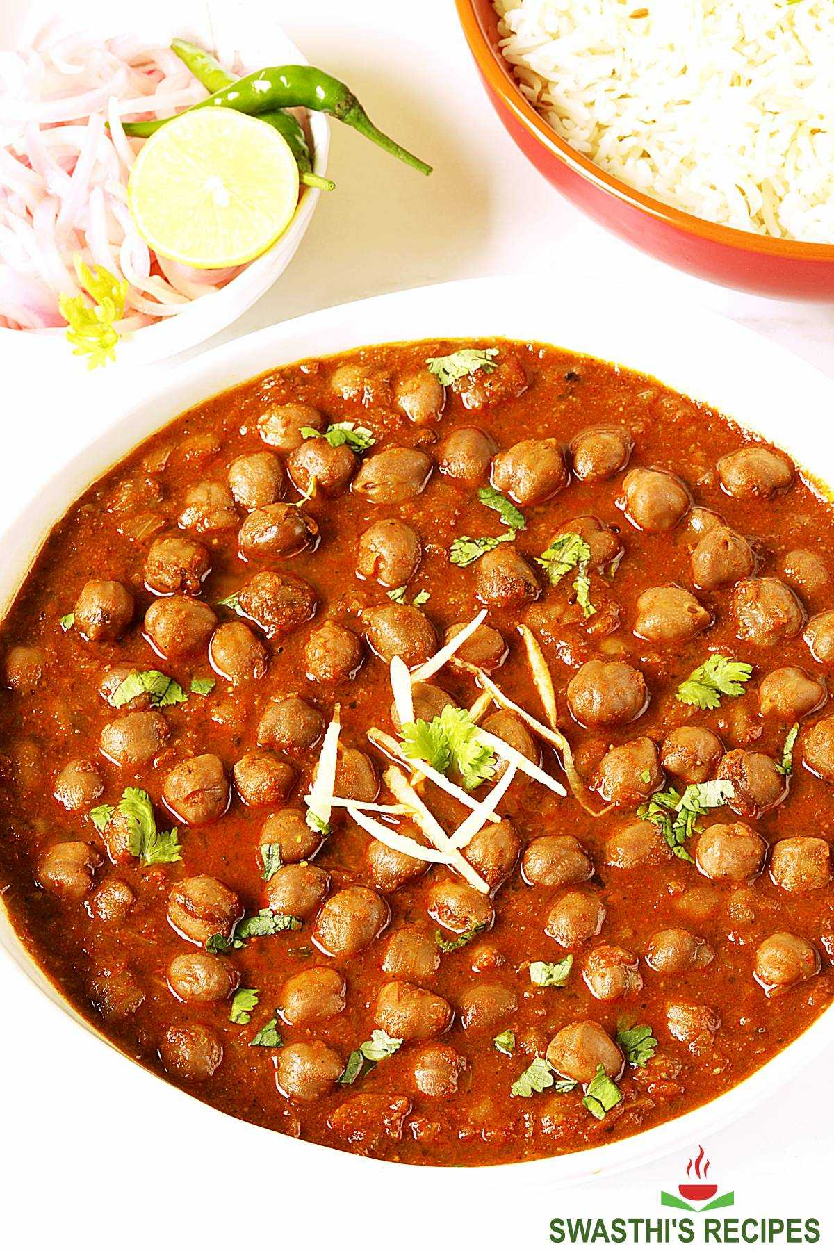 punjabi chole cooked with spices and herbs