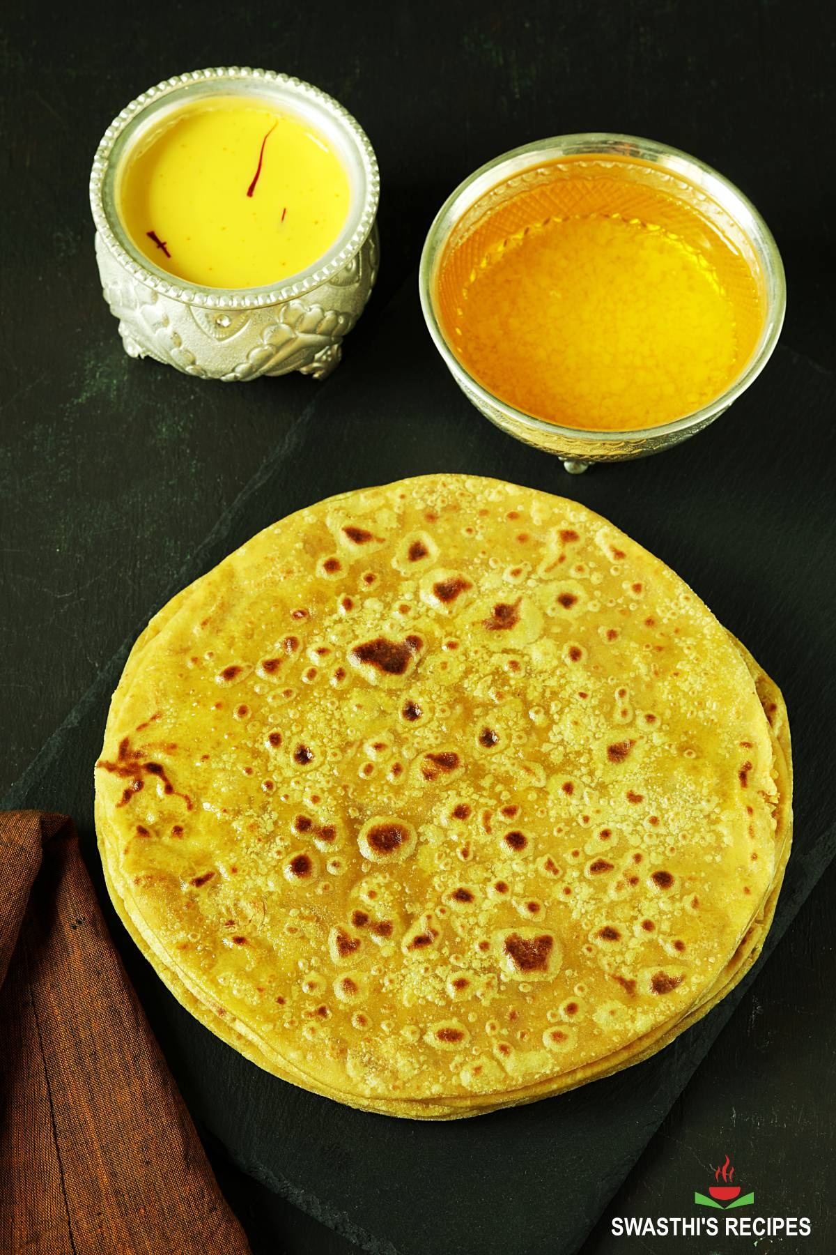 puran poli also known as bobbatlu made with lentils, jaggery and flour