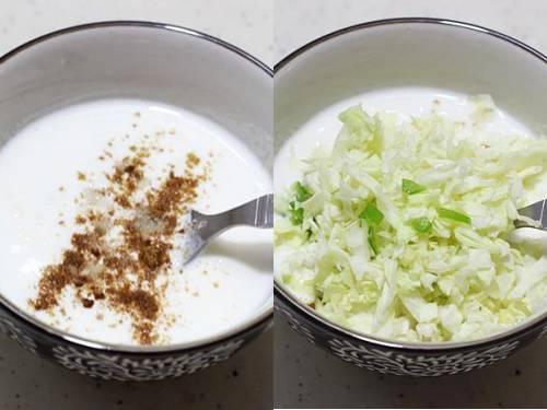 cabbage raita in a bowl