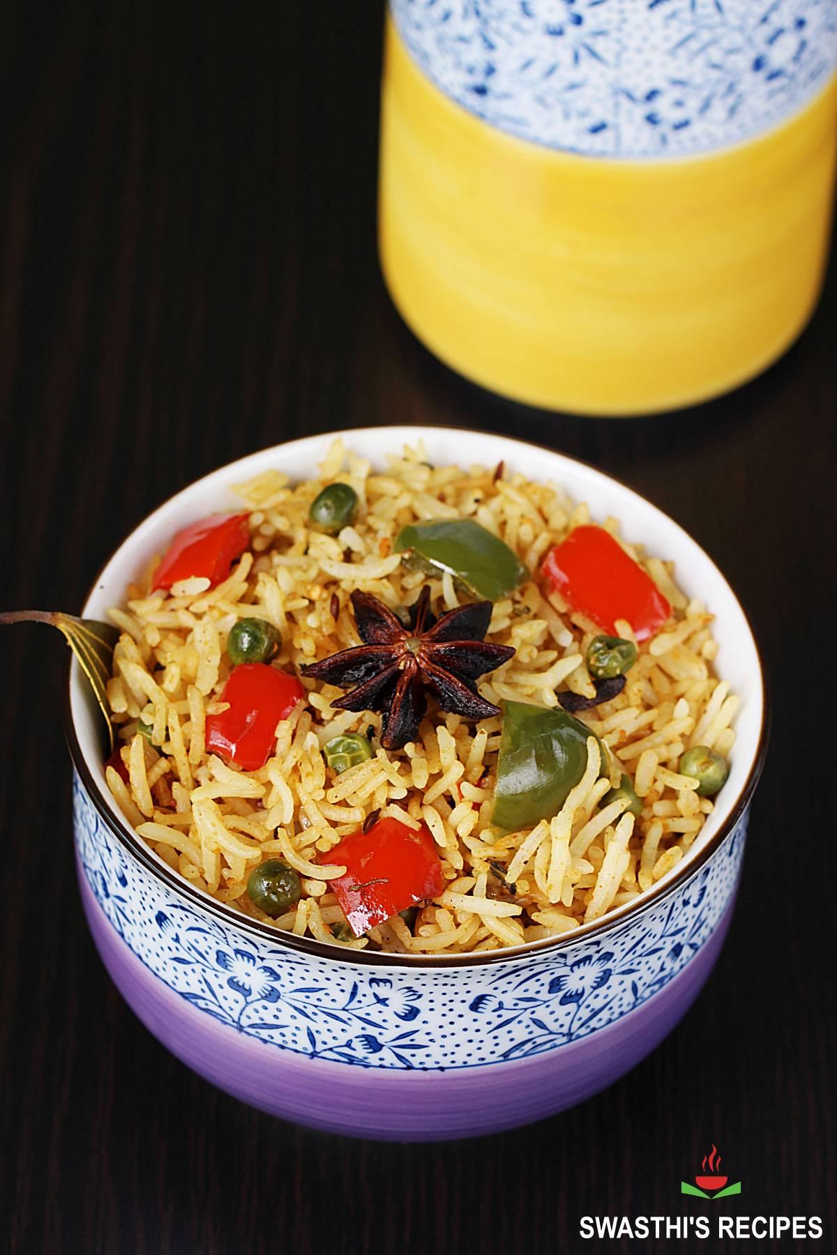 capsicum rice served in a bowl