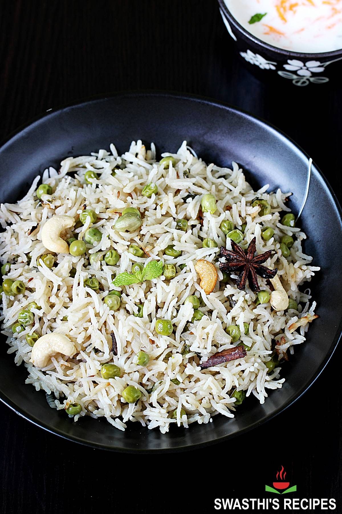 peas pulao also known as matar pulao served in a black plate
